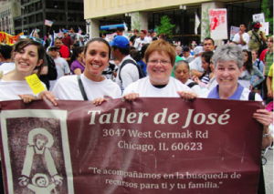 Staff members from the CSJ Ministry Taller de Jose (Joseph's Workshop) participate in a recent Chicago march for immigration reform. Taller de Jose arranges volunteers to accompany members of Chicago's Hispanic community to appointments with social service agencies and other organizations.