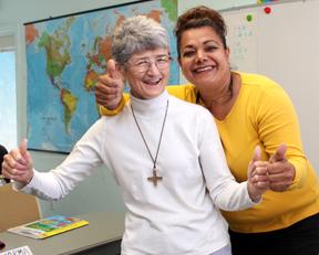 Sister BJ LeTourneau, SNDdeN, teaches an English as a Second Language (ESL) class in Phoenix, AZ.