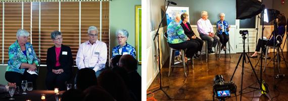 From left, a videotaped interviewed with Vicki Cummings,, Sr. Mary Heyser, RSHM (founding board member of FCLF); Ignacio Esteban (CEO of FCLF), Corinne Florek.